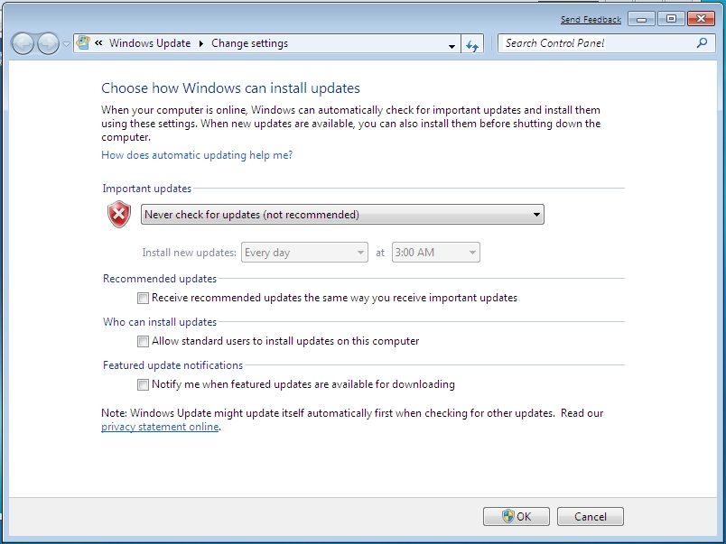 Windows Update - Enable / Disable Automatic Updates in